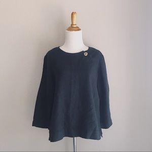 Black Linen Button Neck Lagenlook Blouse